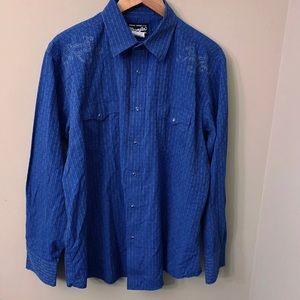 Wrangler XL Blue Pearl Snap Western Shirt